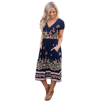 Navy Floral Print Faux Wrap Midi Dress