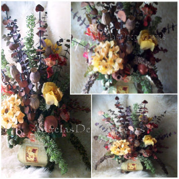 Rustic Floral Arrangement, Tuscan French Country, Dry Naturals, Silk Flowers, Eucalyptus, 3 Sided Year Round, Fall Autumn, Rust Gold Yellow