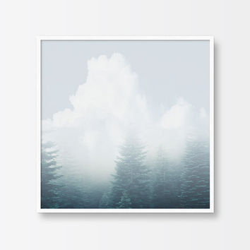 Minimalist Photography, Printable Art, Abstract, Forest, Clouds, Trees, Subtle, Tranquil, Landscape Photography, Modern Wall Decor