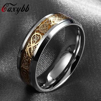 Gaxybb Stainless steel dragon ring fine jewelry how to train your dragon for men Wedding Ring Carbon Fiber Nibelungen Ring