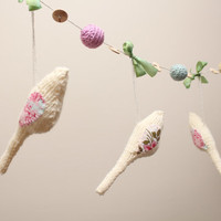 Knitted birds moble with crocheted beads , natural wood buttons and hand dyed silk robbon,ready to ship