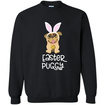 Easter Pug Shirt Bunny Ears Costume Cute Gift Women Kids Printed Crewneck Pullover Sweatshirt 8 oz