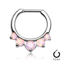 Septum Clicker Opalites Pink Nose Jewelry Surgical Stainless Steel Body Jewelry Daith
