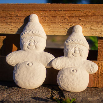 "Cute Snowmen Set 3.8"" Ready to Paint Ceramic Bisque"