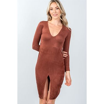 Ladies fashion deep v neckline rust front slit bodycon mini dress