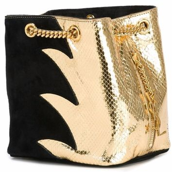 YSL Yves Saint Laurent Classic Baby Emmanuelle Chain Two-Toned Leather Bucket Bag 434596