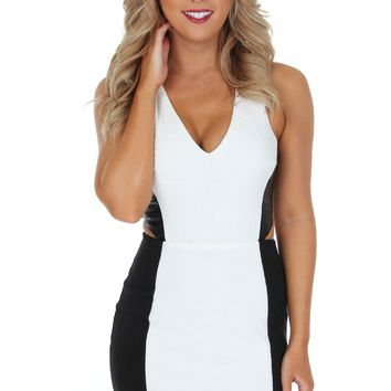 White & Leather Cut Bodycon