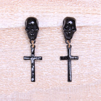 Skull Spirit Black Earrings