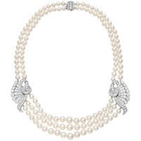 Multi-Strand Pearl & Diamond Plaque Necklace