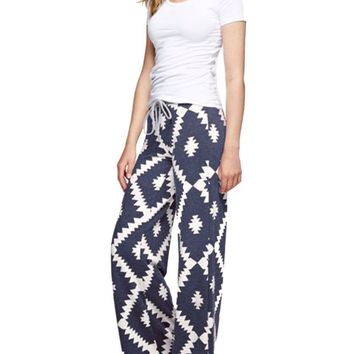 Aztec Print Casual Lounge Pants in Navy