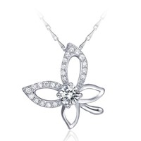 18K White Gold Plated Open Butterfly White Crystal Pendant Necklace