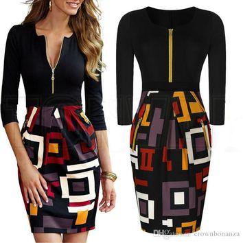 Womens Elegant Vintage Retro Rockabilly Pinup Geometric Colorblock Contrast Party Casual Sheath Bodycon Dress