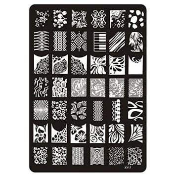 Gellen Well-selected Multi-styles Stainless Steel Nail Image Plate Template 2 Sheets Patterns + 1 Set Scraper&rubber Nail Art DIY