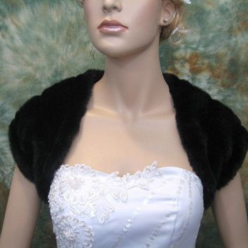 Black faux fur bridal shrug bolero stole shawl wrap by alexbridal