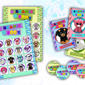 Beanie Boo's Printable Party Bingo Game - SET 1 - cards 1-10