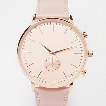 New Look Oversized Face Leather Watch