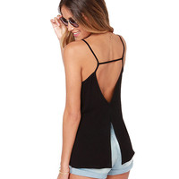 Spaghetti Strap Backless Slit Top