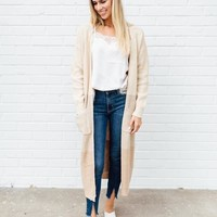 COLOR BLOCKED CARDI - TAUPE