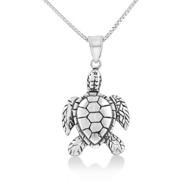 Sterling Silver Kemps Sea Turtle Necklace