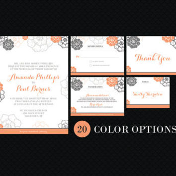 Complete Printable Customized Wedding Set: Invitation, RSVP, Information Card, Name Place Card, and Thank You Note