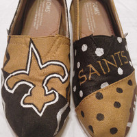 New Orleans Saints Painted Toms Shoes