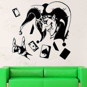Wall Sticker Vinyl Decal Joker Card Poker Gambling Luck Casino Decor Unique Gift (ig2194)