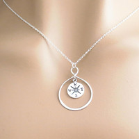 Sterling silver, Infinity, Compass, Necklace, Lovers, Best friends, Mom, Sister, Gift, Accessory, Jewelry
