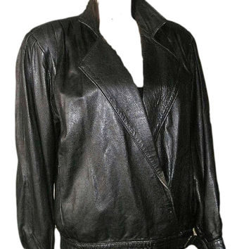 Vintage 80s GUIDO LANGINOTTI Italy Black Leather Lady Punk Rock Jacket S/M - Made in Florence
