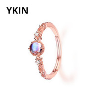 YKIN 2017 Spring New Furong Stone Fanta Blue Moonlight Colorful Jewelry 925 Silver Japanese and Korean Ring Lady Gift