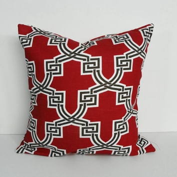 Red Lattice Decorative Pillow Cover, Red and Brown Cushion Cover, 16 x 16, 18 x18, Throw Pillow Cover