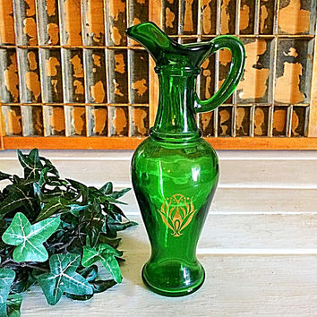 Avon Green Glass, Green Avon Glass, Vintage Avon, Green Glass Pitcher, Avon Vase, Green Vase, Green Glass, Avon, Avon Collectible, Irish