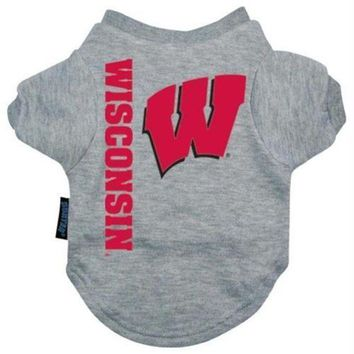 CUPUPHP Wisconsin Badgers Heather Grey Pet T-Shirt