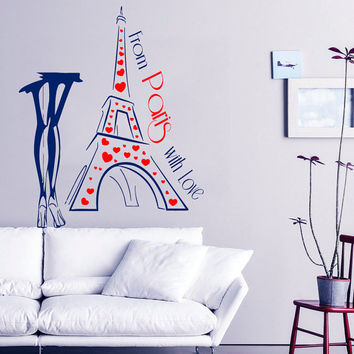 From Paris With Love Wall Decal Quote Love Vinyl Stickers Girl France Fashion Art Mural Eiffel Tower Bedroom Design Living Room Decor KI127