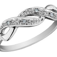 Infinity Diamond Promise Ring in 10K White Gold, Size 6.5