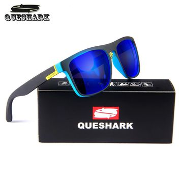 QUESHARK Cycling Polarized Sunglasses Printing TR90 Frame Bike Goggles Sports Camping Hiking Fishing Glasses Bicycle Eyewear