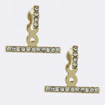 Pave Bar Double-Sided Earrings