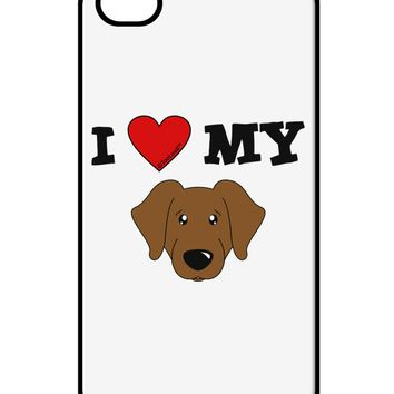 I Heart My - Cute Chocolate Labrador Retriever Dog iPhone 4 / 4S Case  by TooLoud