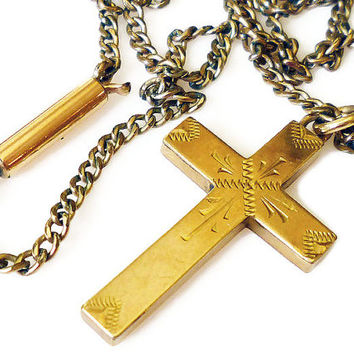 Victorian 10K Gold Cross Necklace Aesthetic Period Antique Religious Jewelry