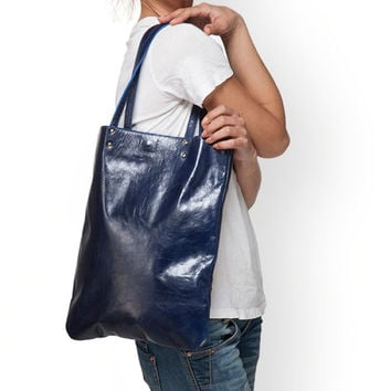 Navy leather purse by Leah Lerner