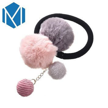 Girls Hair Accessories Colorful Pompon Elastic Hair Bands Rings Cute Creative Faux Fur Ball Hair Rope Lovely Rubber Scrunchies