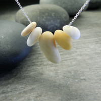 Zen Necklace, Mindfulness Jewelry, Stacking Stones, Tiny Beach Pebbles, Honey Yellow, Natural White,Sterling Silver, Delicate Chain