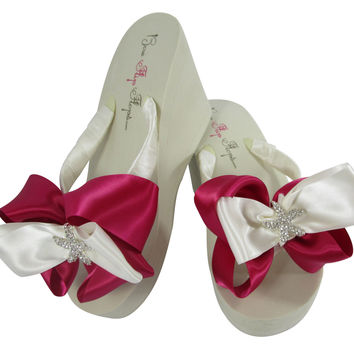 Fuchsia Starfish Ivory High Wedge Flip Flops