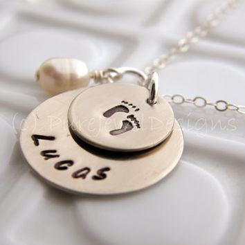 Hand Stamped Pendant - - Baby Feet - - New Mommy Personalized Necklace