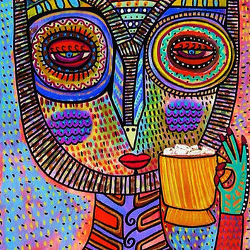Owl Goddess Drinking Hot Chocolate  by SandraSilberzweigArt