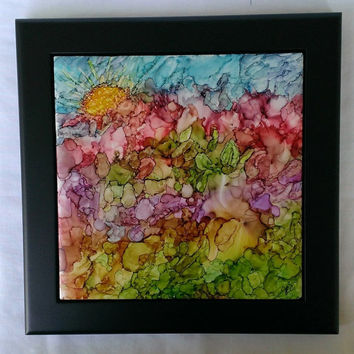 Zippedy-do-da! Alcohol Ink Painting on Ceramic Tile with Black Frame