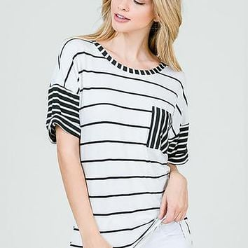 Contrasting Stripes Top