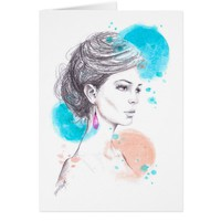 Woman with earring fashion illustration sketch card