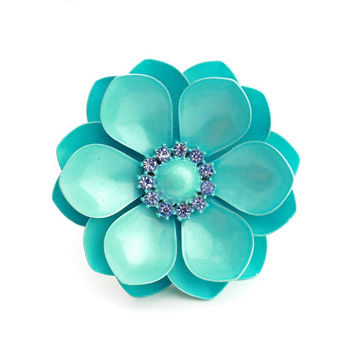 Teal Enamel Flower Brooch With Rhinestone Center - 1960s
