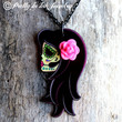 Beautiful Lady Tattoo Style Gypsy Day of the Dead Necklace