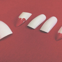Hand painted Acrylic fake Vampire Blood Teeth Nails